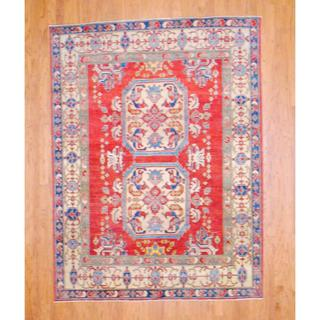 Afghan Hand-knotted Kazak Red/ Ivory Wool Rug (6'3 x 8'5)