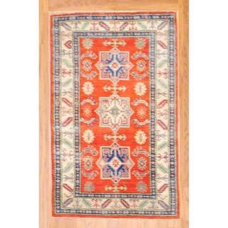 Afghan Hand-knotted Kazak Orange/ Ivory Wool Rug (3'1 x 5')