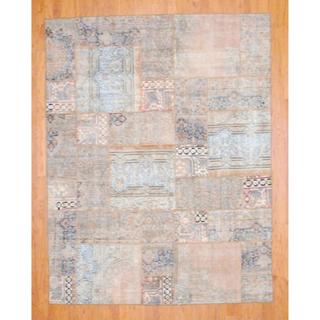Pak Persian Hand-knotted Patchwork Multi-colored Wool Rug (6'10 x 8'11)
