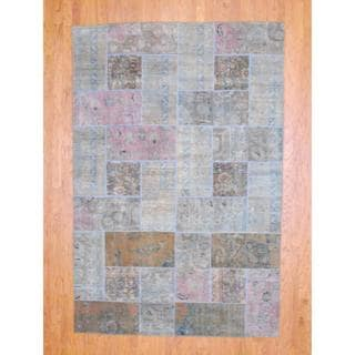 "Pak Persian Traditional Hand-Knotted Patchwork Multicolored Wool Rug (5'10"" x 8'11"")"