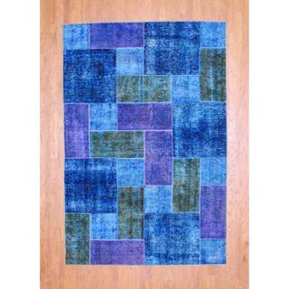 Pak Persian Hand-knotted Patchwork Multi-colored Wool Rug (6' x 8'11)