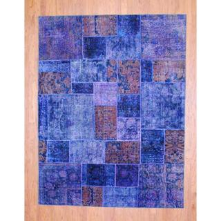 Pak Persian Hand-knotted Patchwork Multi-colored Wool Rug (6'4 x 8'4)