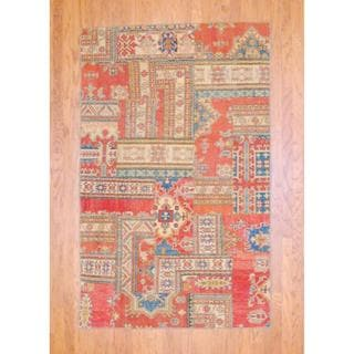 "Pak Persian Hand-Knotted Patchwork-Pattern Multicolored Wool Rug (4'10"" x 7'9"")"