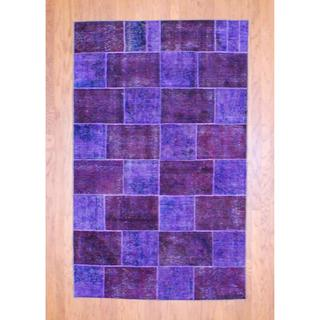 Pak Persian Hand-knotted Patchwork Multi-colored Wool Rug (4'11 x 7'11)