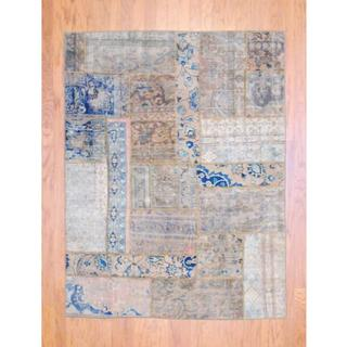 "Large Pak Persian Hand-Knotted Patchwork Multicolored Wool Rug (4'10"" x 6'4"")"