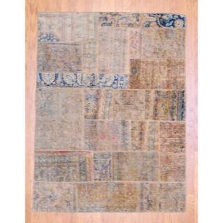 Pak Persian Hand-knotted Patchwork Multi-colored Rectangular Wool Rug (4'10 x 6'5)