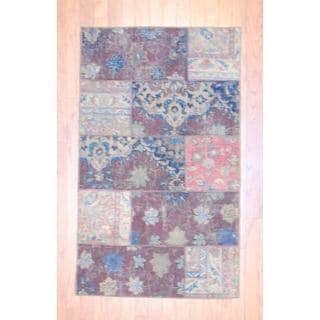 "Pak Persian Hand-Knotted Patchwork Multicolored Wool Area Rug (2'11"" x 4'11"")"