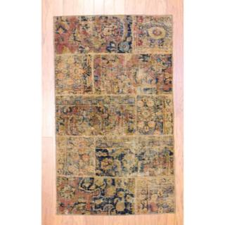 "Pak Persian Hand-Knotted Patchwork Geometric Multi-Colored Wool Area Rug (2'10"" x 4'10"")"