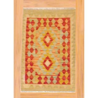 Afghan Hand-knotted Mimana Kilim Multi-colored Wool Rug (2' x 3'1)