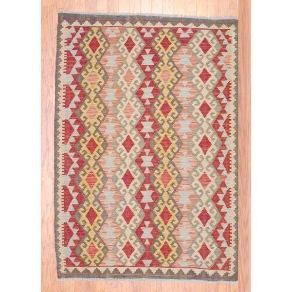 Afghan Hand-knotted Mimana Kilim Multi-colored Wool Rug (4'2 x 6')