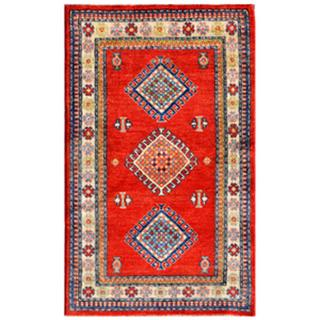 Traditional Afghan Hand-knotted Kazak Red/ Ivory Wool Rug (2'11 x 4'10)