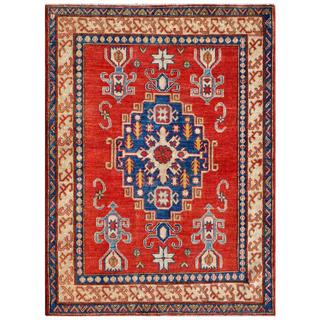 Afghan Hand-knotted Kazak Red/ Blue Wool Rug (3'11 x 5'1)