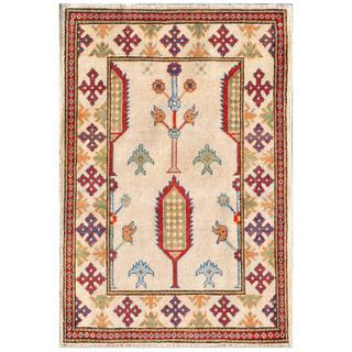 Afghan Hand-knotted Kazak Ivory/ Red Wool Rug (2'8 x 3'2)