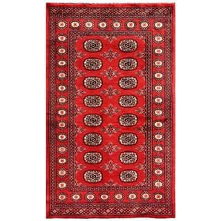 "Pakistani Hand-Knotted Bokhara Rectangular Red/Ivory Wool Rug (3' x 4'11"")"