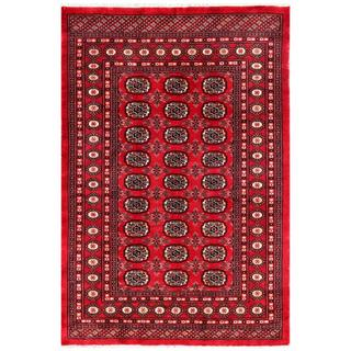 "Pakistani Hand-Knotted Bokhara Red/Ivory Geometric Wool Rug (4'1"" x 5'11"")"