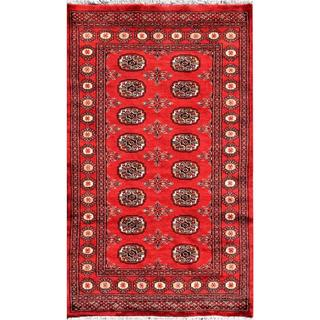 """Pakistani Hand-Knotted Bokhara Red/Ivory Wool Area Rug (3'2"""" x 5'2"""")"""