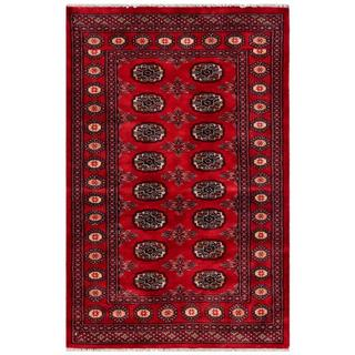 Pakistani Hand-knotted Bokhara Dark Red/ Ivory Wool Rug (3' x 4'9)
