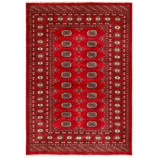 Pakistani Hand-knotted Bokhara Red/ Ivory Wool Rug (4'2 x 6')