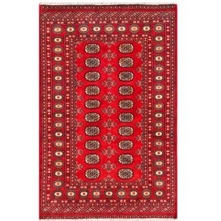 Pakistani Hand-knotted Bokhara Red/ Ivory Wool Rug (4'1 x 6'3)