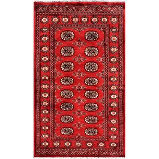 Pakistani Hand-knotted Bokhara Red/ Ivory Wool Geometric Rug (3'1 x 5'2)