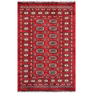 "Distinctive Pakistani Hand-Knotted Bokhara Red/Ivory Wool Rug (3'1"" x 5'1"")"
