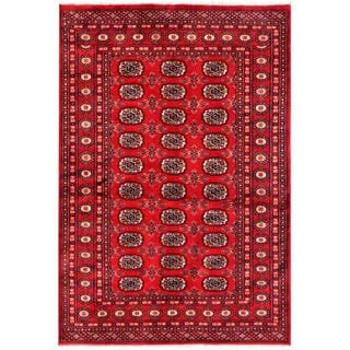 "Traditional Pakistani Hand-Knotted Bokhara Red/Ivory Wool Rug (4' x 5'11"")"