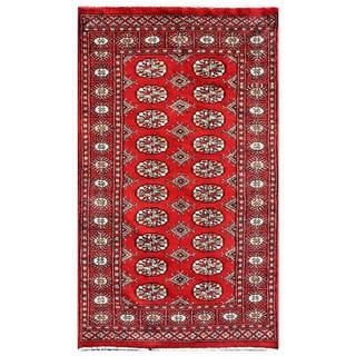 Pakistani Hand-knotted Bokhara Red/ Ivory Wool Rug (2'11 x 4'11)
