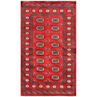 Herat Oriental Pakistani Hand-knotted Bokhara Red/ Ivory Wool Rug (3'1 x 5'3)