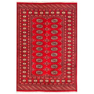 Pakistani Hand-knotted Bokhara Red/ Ivory Wool Rug (4'1 x 6')