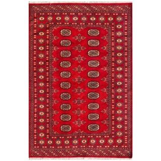 Pakistani Hand-knotted Bokhara Red/ Ivory Wool Rug (4' x 5'11)