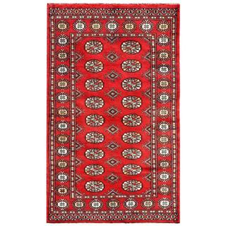 "Pakistani Hand-Knotted Bokhara Red/Ivory Geometric-Pattern Wool Rug (3' x 4'10"")"