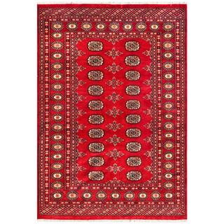 Pakistani Hand-knotted Bokhara Red/ Ivory Wool Rug (4'3 x 6'2)