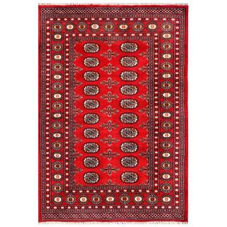 Pakistani Hand-knotted Bokhara Red/ Ivory Wool Rug (4'2 x 6'1)