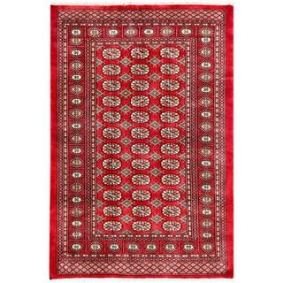 "Pakistani Hand-Knotted Bokhara Red/Ivory Wool Area Rug (4'2"" x 6'1"")"