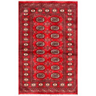 Pakistani Hand-knotted Bokhara Red/ Ivory Wool Rug (3'1 x 4'9)