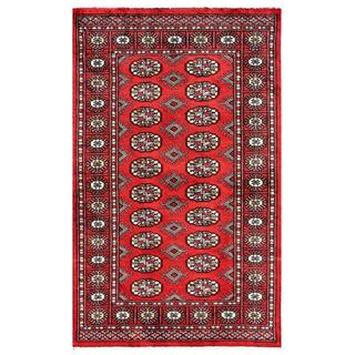 Pakistani Hand-knotted Bokhara Red/ Ivory Wool Rug (3' x 4'11)