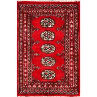 Pakistani Hand-Knotted Bhokara Red/Ivory/Blue Wool Rug (2' x 3')