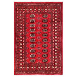 "Pakistani Hand-Knotted Bokhara Red/Ivory Wool Geometric Rug (4' x 5'11"")"