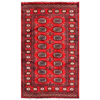 "Pakistani Hand-Knotted Bokhara Red/Ivory Wool Geometric Rug (3' x 4'11"")"