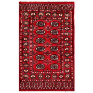 "Pakistani Hand-Knotted Bokhara Red/Ivory Wool Area Rug (3' x 4'9"")"