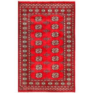 Pakistani Hand-knotted Bokhara Red/ Ivory Wool Rug (3' x 4'10)