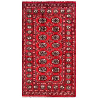 Pakistani Hand-knotted Bokhara Red/ Ivory Wool Rug (3' x 5'4)