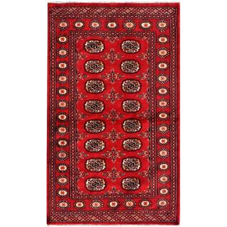 "Imported Pakistani Hand-Knotted Bokhara Red/Ivory Wool Rug (3' x 4'11"")"