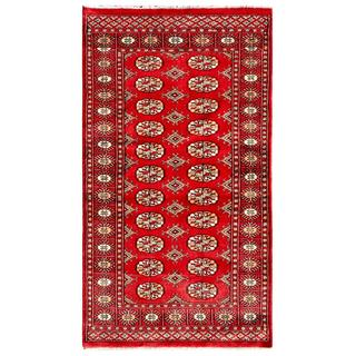 Pakistani Hand-knotted Bokhara Red/ Ivory Wool Rug (2'11 x 5'4)