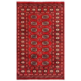 Pakistani Hand-knotted Bokhara Red/ Ivory Wool Rug (3' x 5'1)