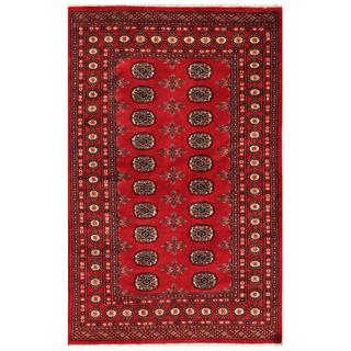 Pakistani Hand-Knotted Bokhara Red/Ivory Geometric Wool Rug (4' x 6'3)