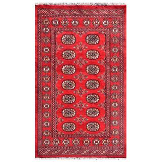 "Pakistani Hand-Knotted Bokhara Red/Ivory Wool Indoor Rug (3' x 4'11"")"