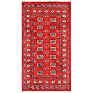 Pakistani Hand-knotted Bokhara Red/ Ivory Wool Rug (3'2 x 5'8)
