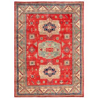 Afghan Hand-knotted Kazak Red/ Beige Wool Rug (8'10 x 11'11)