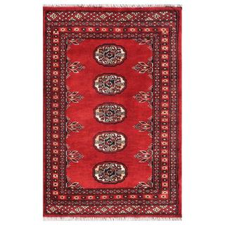 Pakistani Hand-knotted Bokhara Red/ Ivory Wool Accent Rug (2' x 3')